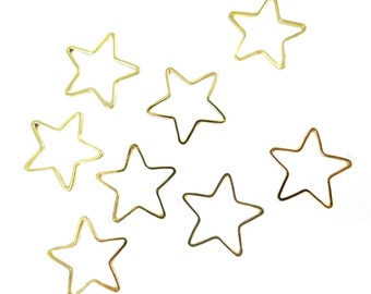 Gold Plated Star Shape Wire Charms (12x) (K203-C)