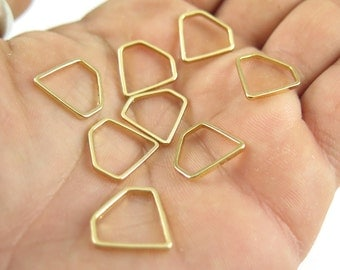 Gold Plated Small Diamond Shape Wire Charms (12x) (K206-C)