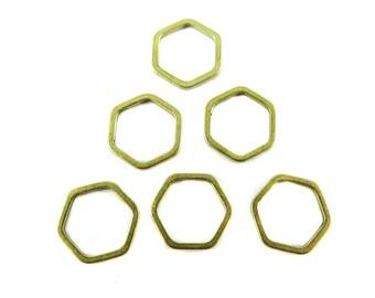 Small Raw Brass Hexagon Shape Wire Charms (30x) (K209-A)