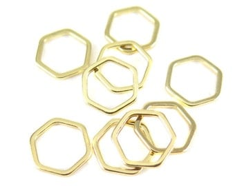 Small Gold Plated Hexagon Shape Wire Charms (16x) (K209-C)