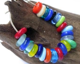 Large Hole Bracelet Beads SRA  Lampwork Slider Beads