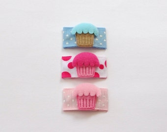 CLEARANCE Set of 3 Blue, Pink and Fushia Cupcakes Baby Snap Hair Clips
