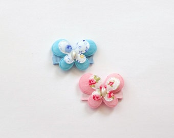 CLEARANCE Set of 2 Blue and Pink Butterflies Baby Snap Hair Clips