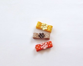 CLEARANCE Set of 3 Yellow, Orange and Brown Polka Dots Baby Snap  Hair Clips