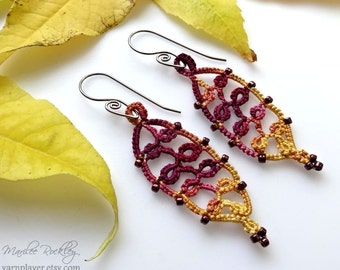 Leaf lace earrings tatting crimson golden yellow with niobium earwires