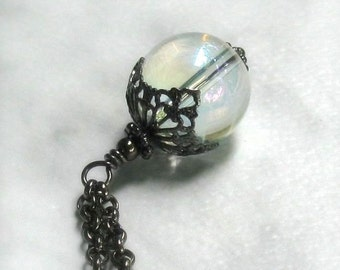Mystical Crystal Ball Pendant Long Black Gunmetal Rollo Necklace Goth, Boho Chic, Gypsy Spirit, Handmade Fantasy Jewelry