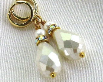 Pearl Drop Earrings, Swarovski Crystals, Petite Gold Hoops, Freshwater Pearls... Pearl and Crystal Classic Jewelry