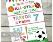 "All Star Birthday Bash Sports Invitation Baseball Soccer Football Basketball Party - Digital Invite 5"" x 7"" Printable"