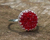 Recycled World War II Era Ruby Beer Bottle  Druzy Glass Ring