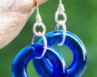 Recycled Vintage Noxzema  Bottle Glass Hoop Earrings/Handmade/Glass Bottles/Cobalt Blue Glass/Blue/Antique Jewelry/Recycled Glass Jewelry