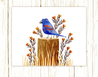 Blue Grosbeak Print -- bird art -- colorful bird art 52 birds stephanie fizer coleman illustration
