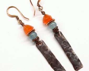 Rustic Copper Earrings with Gemstones E685