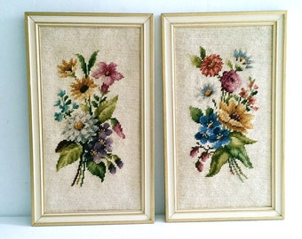 Vintage Pair of Framed Floral Needlepoint Shabby Cottage Wall Decor