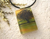 Tree Necklace, Tree Jewelry, Dichroic Jewelry, Tree of Life, Horizon Tree, Necklace Included, Fused Glass Jewelry, Gold Necklace 091215p102