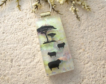 Sheep Lamb Necklace, Dichroic Necklace, Fused Glass Jewelry, Dichroic Jewelry, Glass Pendant, Glass Jewelry, Gold Necklace,, 090715p102