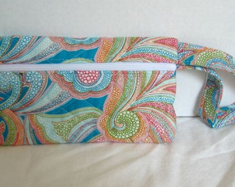 Quilted Paisley Wristlet - Bright Paisley Small Purse - Wrist Style Purse - Wallet with Strap - Cellphone Purse - Turquoise Lime Orange