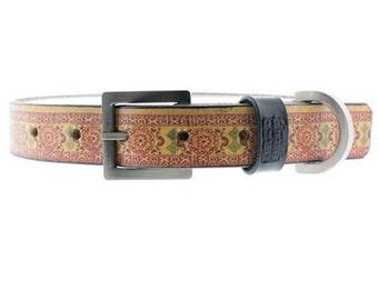 New India Print Dog Collar, Leather Dog Collar, India Collar, Boho India Collar