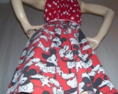 Mickey Mouse Dress Upcycled 80s red black Polka Dot Disney Cruise Resort Sundress Adult S to Plus Convertible Dress