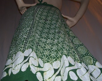 Batik Wrap Skirt Hippie Indonesian Boho Cotton Batik Skirt Adult Midi Gypsy Java Wax Print Batik Vintage VTG Green Yellow Cream Wrap Skirt