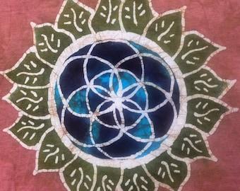 Batik Seed of Life Mandala T Shirt- Size  L