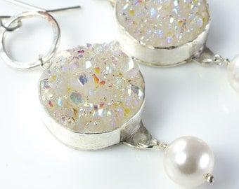 Cersei Earrings Titanium White Druzy and Pearl Silver Earrings