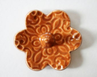 Rustic Orange Ring Dish, in stock,  Clay Pottery Ring Holder