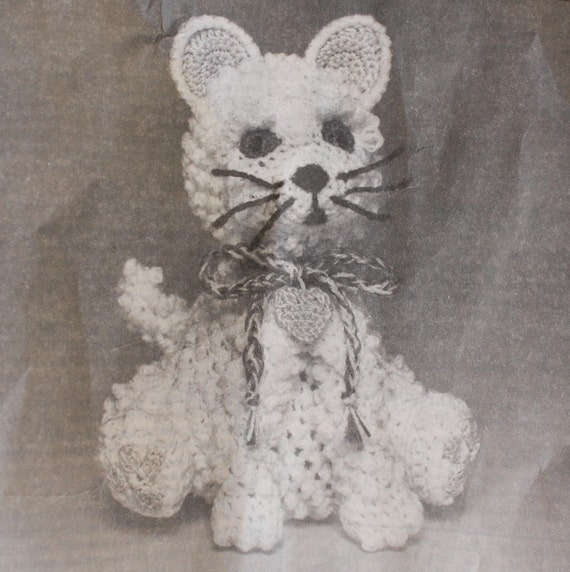 80s Cat Crochet Pattern W Vintage Red Heart Pompadour
