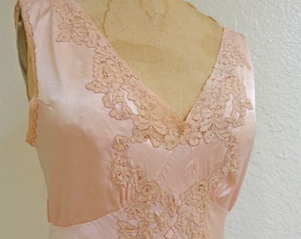 1930s Bias Silk Nightgown Peach