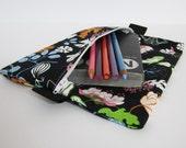 Slim Zip Case .. for neccessities or frivolities .. medium size pouch black bird