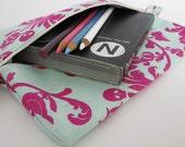 Slim Zip Case .. for neccessities or frivolities .. medium size pouch in magenta