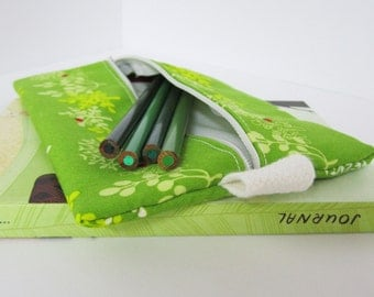 Slim Zip Case .. for neccessities or frivolities .. medium pouch in green tree