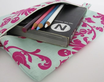 Slim Zip Case .. for neccessities or frivolities .. medium size pouch in magenta
