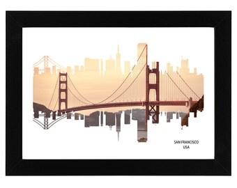 San Francisco USA City Skyline Print with photo of Golden Gate Bridge