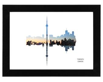 Toronto City Skyline Print with aerial photo