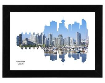 Vancouver City Skyline Print with aerial photo