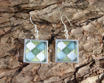 Moroccan / Spanish Tile Tesselation Silver plated Earrings