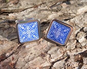 Beautiful Blue & White Spanish Tile Chrome Cuff Links