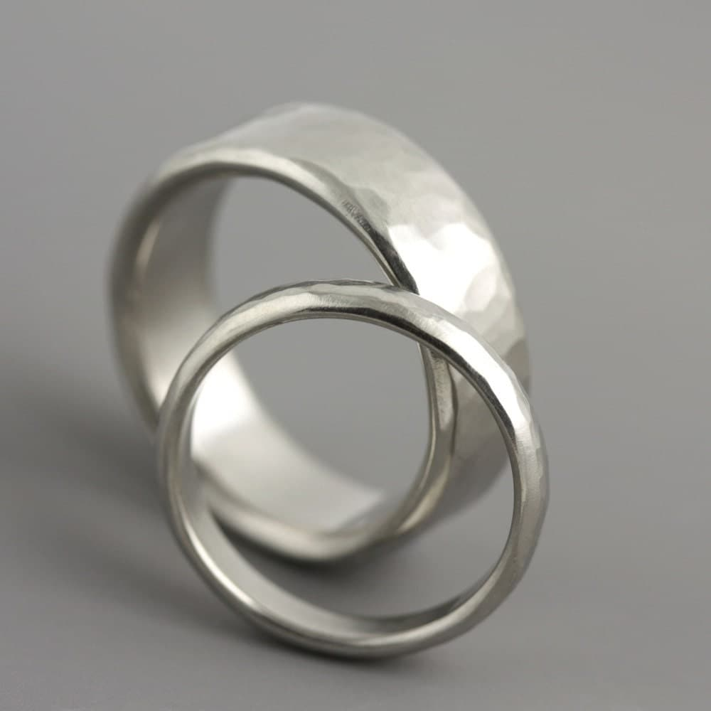 Hammered Platinum Wedding Ring Set For Him And Her Man 39 S