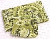 Matching Pouch Set - Paisley Zipper Pouch - Set of 2 Zipper Pouches - Make Up Pouch - Coin Purse - Handmade Gift Set - Green Zipper Pouch