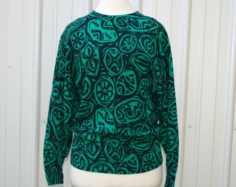 Vintage Lambswool Sweater, Ugly Cosby sweater 1980s 1990s woman sweater, emerald green navy blue pullover top, raglan long sleeve Medium M