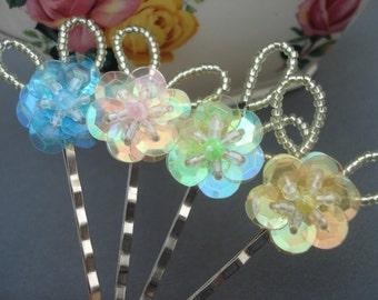 Sequin Flower Hair Pins, Set of 4