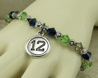 Seattle Seahawks 12th Player Football Fan Bracelet > Monday Night Blue Green Gray Swarovski Crystal Rhodium Pewter - I ship internationally
