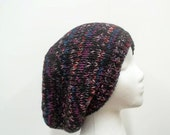 Knitted oversized beanie hat muticolor large size   5111