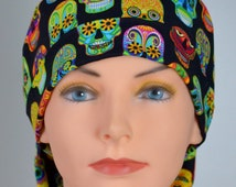Womens Halloween Surgical Scrub Hat Chemo Cap with FABRIC TIES- The Mini- Sugar Skulls - il_214x170.832515034_cab7