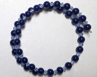 Navy and Crystal Beads on Spiral Memory Wire Stacking Bracelet