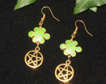 Pentagram and Celtic Knotwork Earrings - Green - Pagan, Wicca, Witchcraft