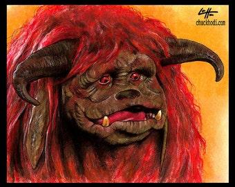 "Print 8x10"" - Ludo - Labyrinth Movie David Bowie Fantasy British Jim Henson Fantasy Goblin King Dark Art Surreal Magic Ziggy Hoggle Monster"
