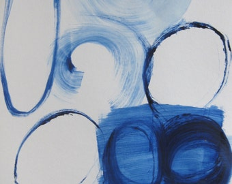 "Blue Circle Study l blue and white painting on paper 18"" x 12"""