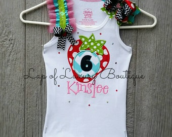 Custom Boutique  OTT embellished applique embroidery strawberry birthday girl tank personalized monogrammed pageant photography