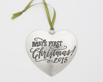 SALE! 2015 heart baby ornament
